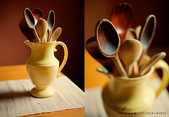 Spoons. (Jackie Baisa ~ Photographer) Tags: yellow table vase spoons woodenspoons cookingutensils