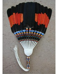 Redtailed Cockatoo fan (Medicinehorse7) Tags: fan fans feather feathers detail bald immature golden eagle conure dropfan closeup threadwork featherwork tribe native american peyote ceremony ceremonial indian macaw caracara anhinga waterbird stitch beadwork hawk camelot glossy black scissortail yellowtail redtail fringes colorful religion church