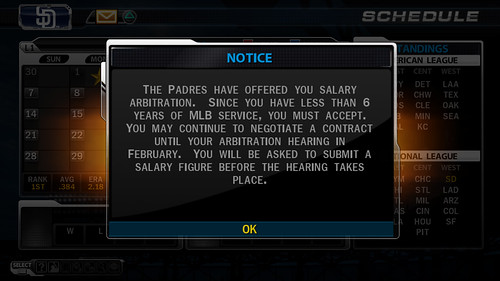 MLB 09 The Show screenshot - RTTS Arbitration Offer