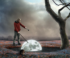 marinating the moon (Mattijn) Tags: winter moon cooking cat landscape surreal photomontage garlic soysauce teriyaki marinating gingeroil
