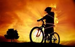 [フリー画像] グラフィックス, イラスト, 人物(イラスト), シルエット, 自転車, 201005252300