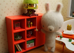 Sada had always suspected that tree house life was just not enough for Miki (TADA's Revolution) Tags: rabbit bunny miniature handmade crochet craft plush livingroom sofa softie stuffedanimal kawaii rement amigurumi diorama crafting dollhouse stuffie megahouse  lilliputlivins koedachan