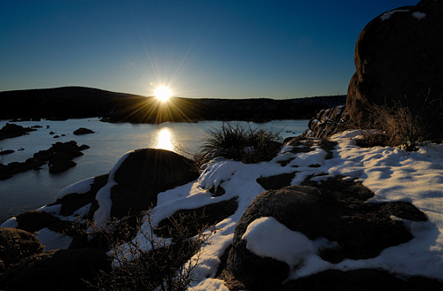 The sun just moments after cresting the horizon - Watson Lake