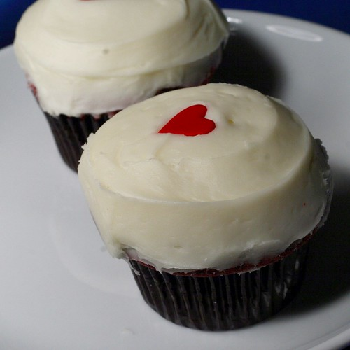 lovely Red Velvet cupcakes dressed up with candy hearts. I've ...