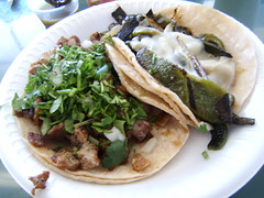 taco chuleta and taco de rajas