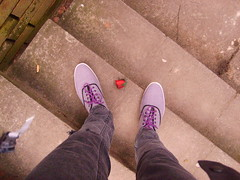Me and the crushed rose petal (joking...) Tags: feet rose purple legs steps petal