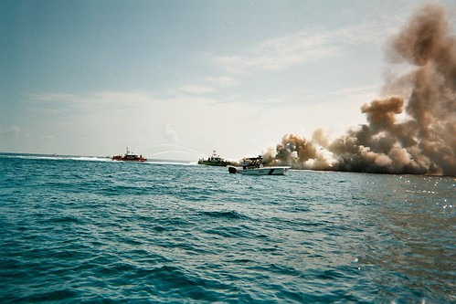 56' Boat on fire just after two MetalCraft Marine Fireboats Arrived