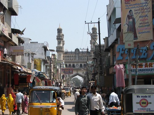 View of Charminar from inside Laad Bazaar, Hyderabad