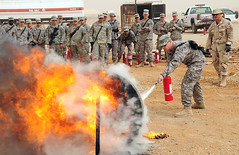 407th Expeditionary Civil Engineer Squadron conducts fire extinguisher training for Contingency Operating Base Adder Soldiers