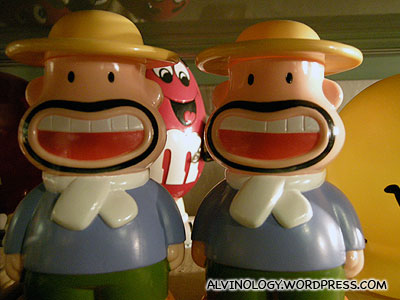 Toy farmer with funny expression