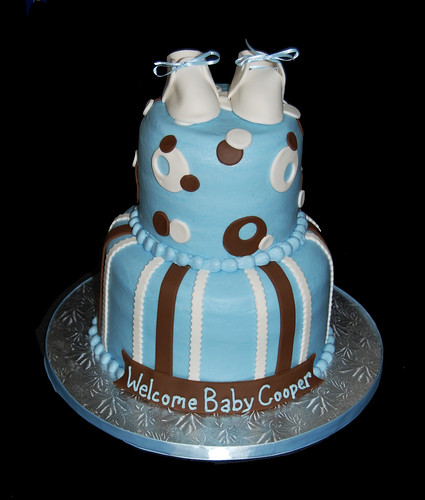 Blue brown and white 2 tier baby shower cake with booties Baby Cooper