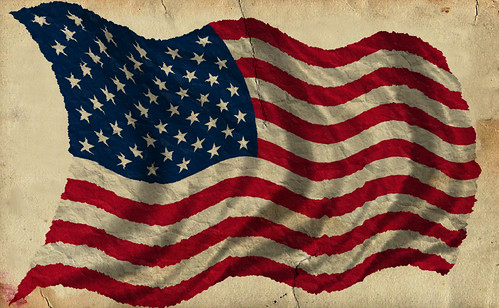 Patriotic Old Worn Waving American Flag, Ragged Old Flag,