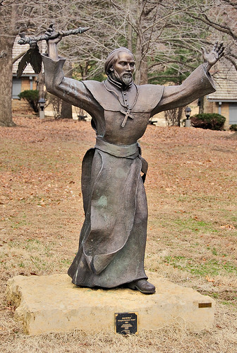 Pere Marquette State Park, in Grafton, Illinois, USA - garden statue of Father Marquette
