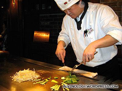 Preparing the vegetable side