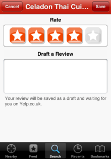 Yelp draft a review