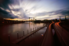 Portlandian Moments, 30 seconds (Zeb Andrews) Tags: sunset urban film oregon portland evening downtown cityscape waterfront traffic i5 pinhole pacificnorthwest steelbridge willametteriver zeroimage pinscape zero69 burnsidebridge bluemooncamera worldwidepinholeday zebandrews zebandrewsphotography