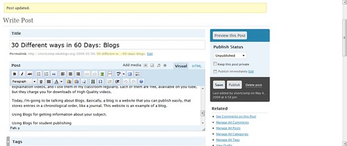 The simple interface of Edublogs.