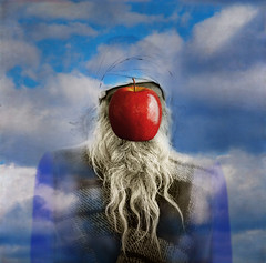 Holy Man Levitating an Apple Without Realizing His Debt to Magritte (Slimdandy) Tags: magritte reality spiritual legacy dreamcatcher utatafeature redmatrix