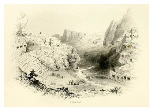 021-Petra el teatro vista desde dentro de la ciudad-Bartlett, W. H. 1856