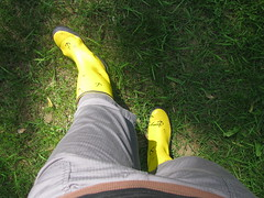 Yellow Boots in the Sun (ohwhatachristy) Tags: sunlight may lookingdown 2009 myfeet yellowboots