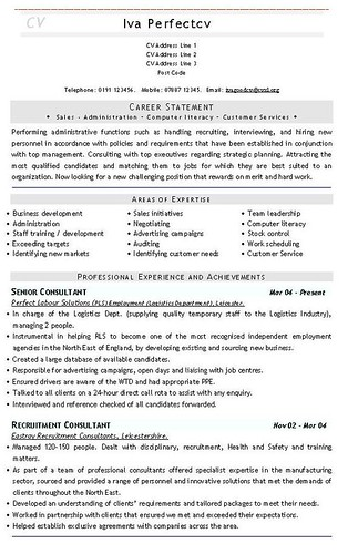 latest curriculum vitae format. Recruitment Consultant CV