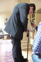Gabriel Byrne with John B Keane's walking stick