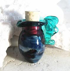 Iridescent Vessel (HomeFriedBeads) Tags: horse dog fish glass animal cat cow ebay handmade snake alligator vessel frog toad crocodile bead etsy lampwork homefriedbeads