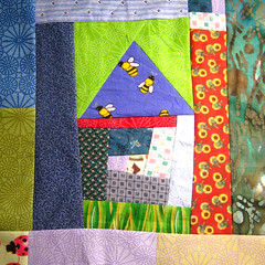 SewConnected wonky house block 1 for krommama (mochistudios) Tags: swap improv quiltblock wonkyhouse sewconnected scrapbuster