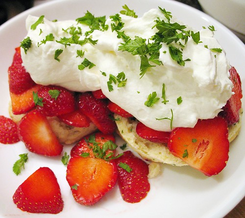 strawberry shortcake with chervil