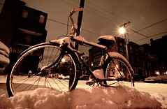 Queens Villiage South Philly Bicycle (Andrew Sampson (places_spaces_and_things) on insta) Tags: street light snow film ice bike bicycle night angle minolta kodak south wide 7 slide tokina queens philly villiage 17mm andrewsampson