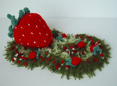 Strawberry Fields Forever crochet (meekssandygirl) Tags: sculpture strawberry infinity crochet beatles forever amigurumi feilds