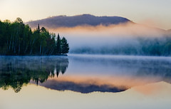 Mijocama (Phil Grondin) Tags: morning blue trees camp mist green water fog clouds landscape woods eau save3 lac delete save save2 vert bleu arbres save4 qubec chalet save5 miroir nuages paysage reflexion bois brume matin mijocama gracefield