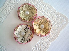 Vintage Flowers (Scrap Shoppe) Tags: flower vintage scrapbooking handmade pearl recycle papercrafts cabochon upcycle