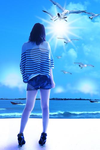 [フリー画像] グラフィックス, フォトアート, 女性, 後ろ姿, カモメ, ブルー, 201105180100