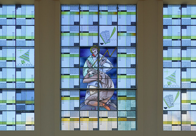 Saint Paul Roman Catholic Church, in Highland, Illinois, USA - stained glass window of the conversion of Saint Paul