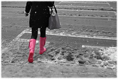 Stepping across winter to the other side (Now and Here) Tags: street pink winter snow toronto ontario canada feet corner grey lights cross traffic boots fb walk sony gray pedestrian slush step intersection alpha dslr crosswalk sole sewergrate selectivecolour stride a300 sigma28200 fave5 fave10 view150 sonydslra300 nowandhere