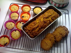 Blueberry muffins, carrot/orange cake, Cornish Fairings.
