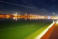(Rollercoasterflight) Tags: longexposure light arizona lake green water plane stars town nikon trails tempe d80