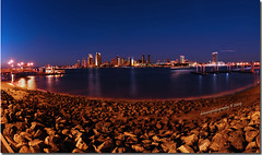 Ferry Landing Marketplace - a Panoramic view of San Diego (Debasis ~~) Tags: ocean travel sunset color beach ferry bay photo downtown pacific sandiego dusk january photojournalism fisheye landing marketplace coronado dri nikkor105mm debasis