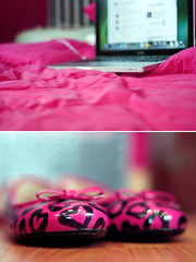 My world (✧S) Tags: black hearts bed mac shoes laptop flats myworld hotpink