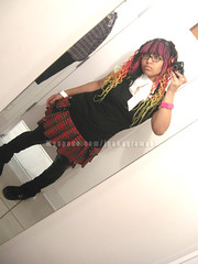 dressing room. bought the shirt :p lol (ipukeglamour) Tags: girl make up hair tamara goth falls colored dread raver synthetic cyber bitchface extensions ipukeglamourcom ipukeglamour