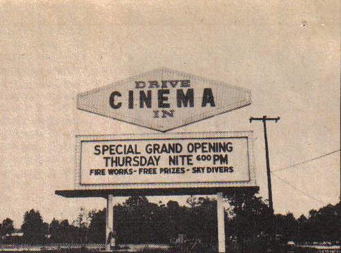 Cinema Drive-In Marquee (Jacksonville, NC) 1967