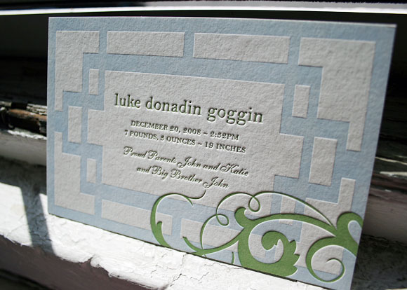 Blue and green letterpress baby announcement - Smock
