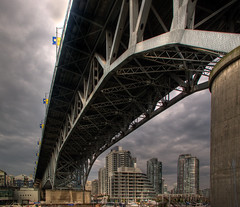 Granville Bridge (ecstaticist) Tags: ocean city bridge canada water metal vancouver creek skyscraper photoshop canon island design support bc angle granville cement wide perspective engineering columbia yaletown british build rhcp span hdr false gurder photomatix tonemapping g10 photomaix tonempped