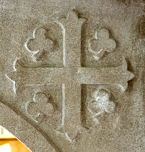 Former Daughters of Charity chapel, at the University of Missouri - Saint Louis, in Normandy, Missouri, USA - carved cross with shamrocks