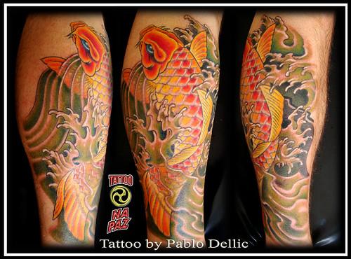 Carpa tatuada , Koi Tattoo by Pablo Dellic by Pablo Dellic 