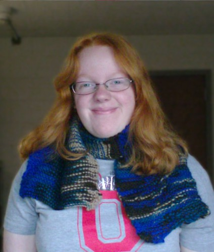 Joy wearing boyfriend's first garter stitch scarf in Paton's Classic Wool Merino