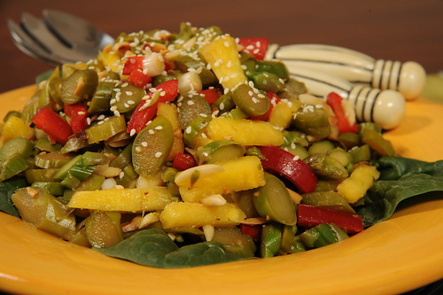 Sesame Ginger Slivered Asparagus salad