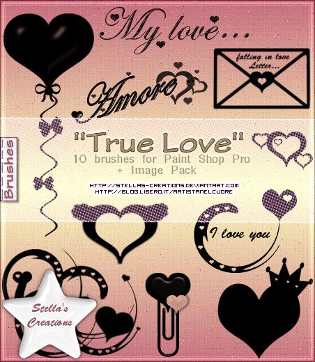 True Love Brushes - © Blog Stella's Creations: http://sc-artistanelcuore.blogspot.com