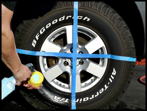 Applying tire dressing